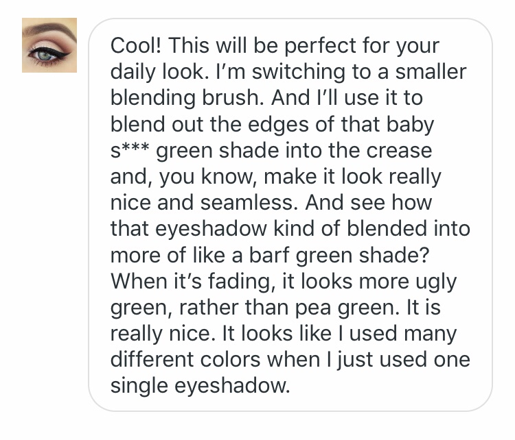 example of using Makeup Guru when you choose one of green shades