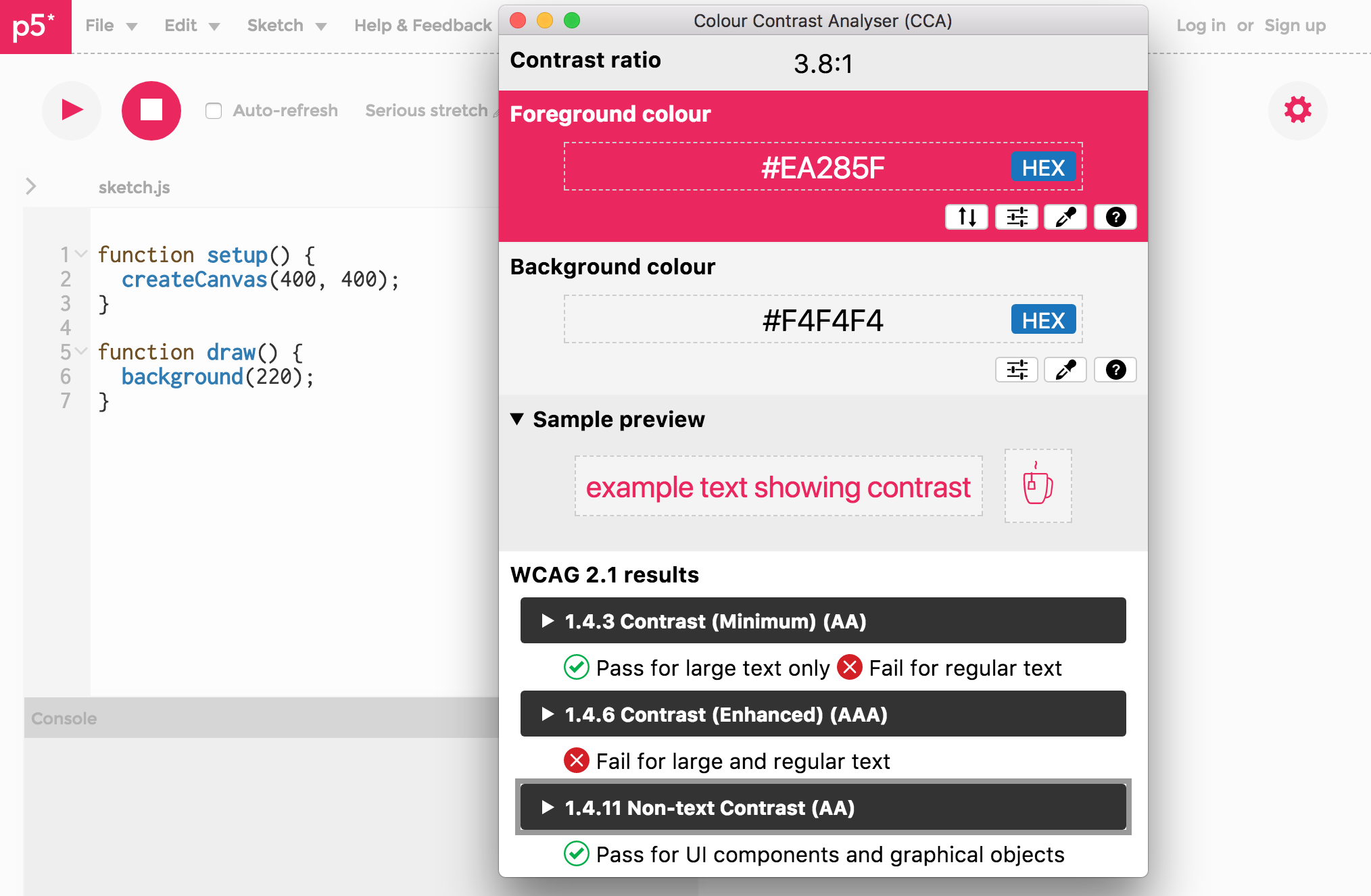 p5 web editor and use of Colour Contrast Analyser (CCA) for point color