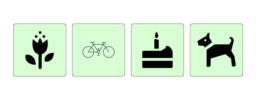 flower, bicycle, cake and dog icons. bicycle icon has different weight