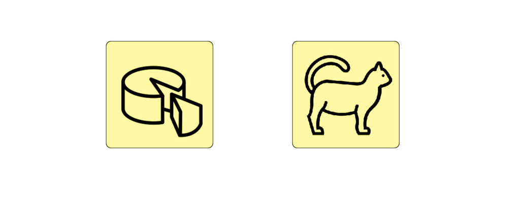 a cake icon and a cat icon with similar style