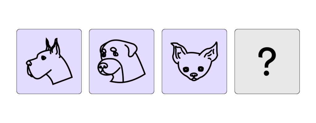 three icons of dogs in similar style and one question mark