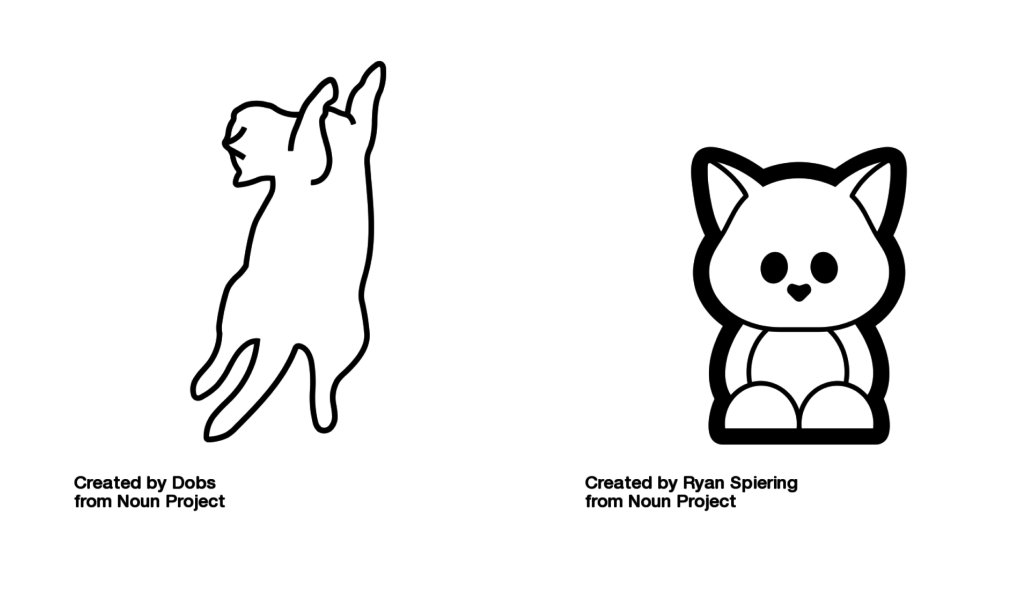 two cat icons from the noun project